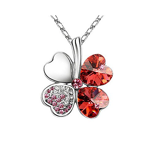4 Leaf Clover Necklace - Red - St.Patrick's Day Jewelry - Mall of - Mall Patrick