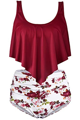 Byoauo Womens Swimsuits Two Pieces Ruffled Racerback Bikini Top with High Waisted Bottom Bathing Suits (XXL, Wine)