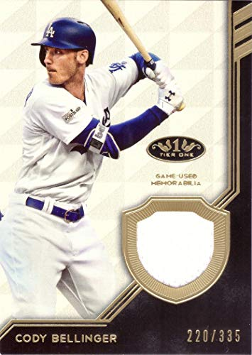2018 Topps Tier One Relics #T1R-CBE Cody Bellinger Game Worn Dodgers Jersey Baseball Card - Only 335 made!