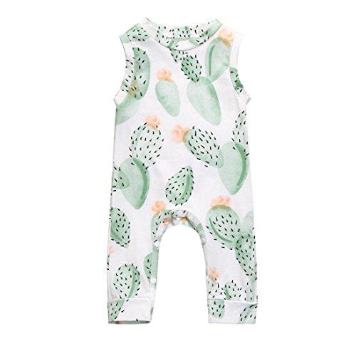 Sharemen Newborn Baby Boy Girl Cute Sleeveless Floral Print Romper Jumpsuit Climbing Clothes (White, 12-18 Months)