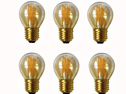 (JKLcom 4W G45 Dimmable LED Filament Bulb G45 LED Vintage Edison Bulbs E26/E27 Medium Base Lamp for Home Pendant Antique Light,G14/G45 Shape,E26/E27 Socket Base,Amber Glass,2300K Warm White, Pack of 6)