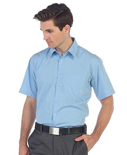 Gioberti Men's Short Sleeve Solid Dress Shirt, Sky Blue, L