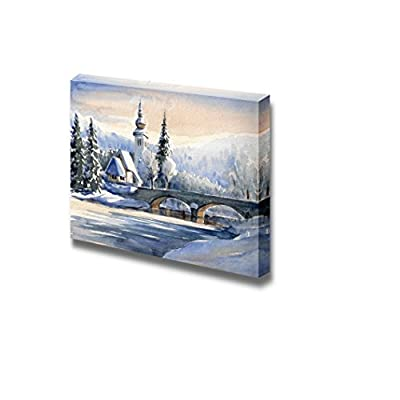 Winter Mountain Landscape with Small Church and Bridge Over a River in Oil Painting Style - Canvas Art Wall Art - 24