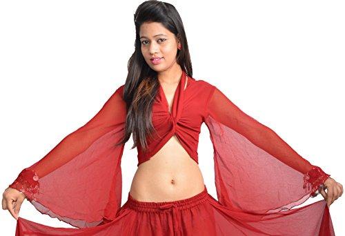 Wevez Women's ATS Belly Dance Winged Arm Choli Gypsy Top (Maroon)