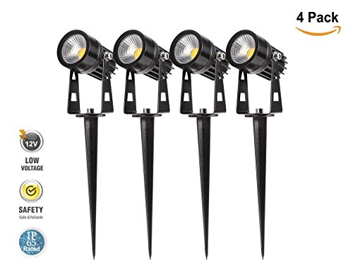 4 Pack Outdoor Landscape Spotlight IP65 Waterproof LED Lighting, Greenclick 12V Low Voltage 6.5ft Cable Garden Lights Waterproof decking lights with Spike Stand for Garden, Yard, Pathway, Lawn