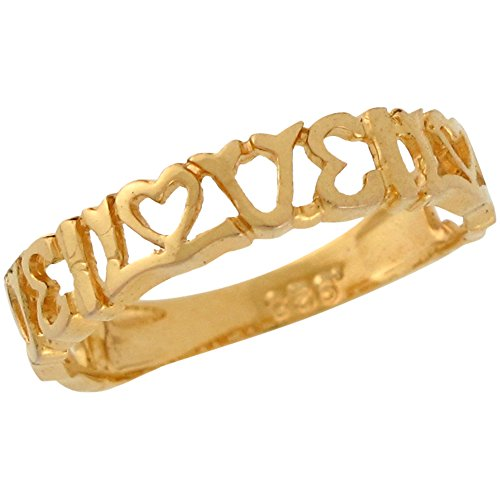 14k Yellow Gold Engraved Love with Heart for Friend or Couple Ladies Ring by Jewelry Liquidation