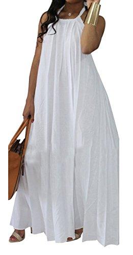 - LightlyKiss Women's Sexy Halter Neck Backless Chiffon Dress Long Maxi Beach Pockets Sundress White