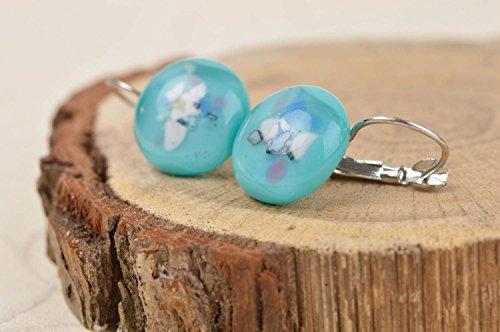 (Round handmade glass earrings womens ball earrings glass fusing art gift ideas)