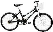 Bicicleta Aro 20 Cindy Preta e Lilás com Cesta sem Marcha, Track Bikes