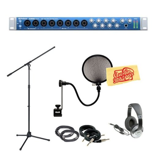 Presonus AudioBox 1818VSL 18x18 USB 2.0 Audio Interface Pack with Mic Stand, Pop Filter, 2 XLR Cables, 2 Instrument Cables, Headphones, and Polishing Cloth