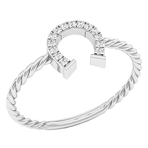Dazzlingrock Collection 0.07 Carat (ctw) 10K Round White Diamond Ladies Right Hand Horse Shoe Ring, White Gold, Size 7