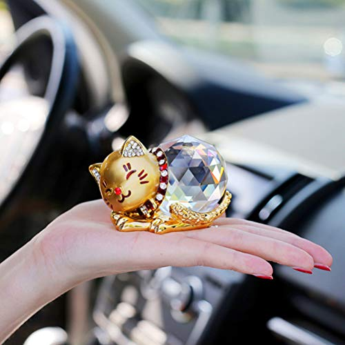 Here4Tool K9 Alloy Crystal Lucky Cat Figurine, Collectible, Ornament with Slip Cushion,Gold or Silver (Gold)