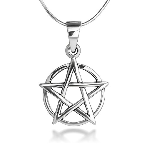 Chuvora Sterling Silver 19 mm Pentagram Pentacle Star Amulet Protective Pendant Necklace 18''