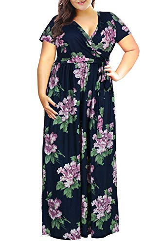 Nemidor Women's Short Sleeve Floral Print Plus Size Casual Party Maxi Dress (Purple Flower+Short, 24W)