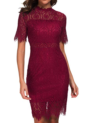 Zalalus Women's Lace Dresses for Cocktail Wedding Party Elegant High Neck Short Sleeves Above Knee Length Summer Bodycon Casual Midi Dress Burgundy US6 (Elegant Lace Dresses Wedding)
