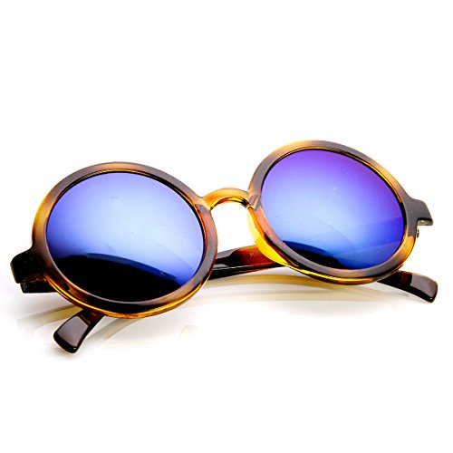 Classic Lennon Style Flash Mirror Lens Circle Round Sunglasses (Tortoise Ice) ()