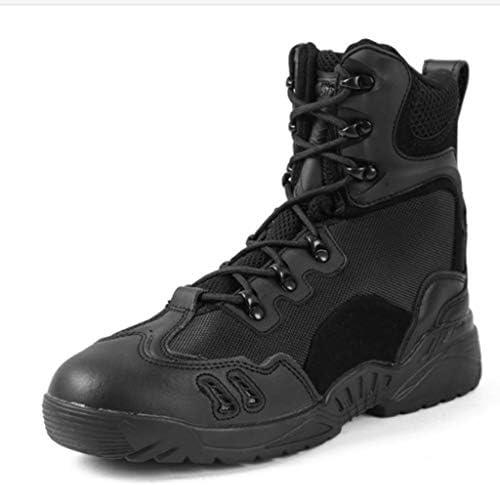軍事戦術ブーツキャンバスは、耐摩耗耐久性に優れたラバーソールジャングルブーツ暖かいハイヘルプレースアップStyie滑り止めをしてください (色 : 黒, サイズ : 24.5 CM)