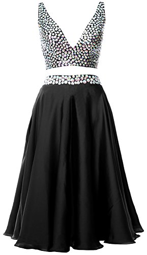 Women Dress Piece Cocktail Prom Straps MACloth 2 Short Gown 2017 Neck V Formal Schwarz dEqfXxwXW