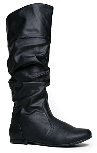 Slouchy Knee High Boot Ð Women's Flat Riding Boot Ð Comfortable Vegan Leather Boot - Casual Everyday Walking (Cheap Cowgirl Boots Under 20)