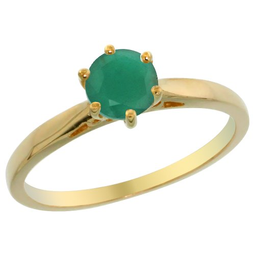 14K Yellow Gold Natural Emerald Solitaire Ring Round 5mm, size 6.5