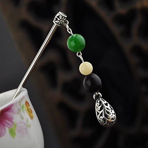 Retro hair accessories sandalwood prayer beads white jade Buddha Miao silver hair drops classical hairpin step shake dish made evil gift for women girl - Beads Prayer Made Jade