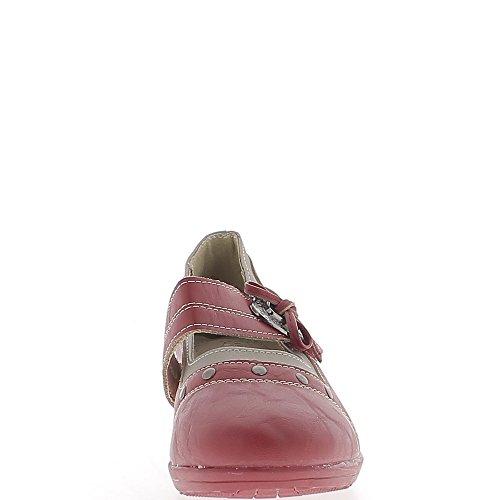 Chaussures Femme Rouges Confort Talon compensé de 4cm liseré Bronze vjhEJ
