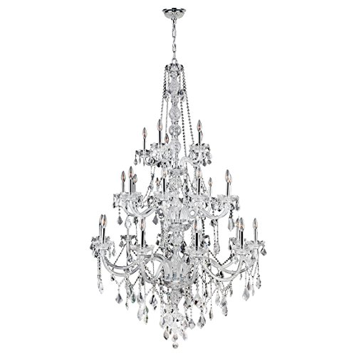 Worldwide Lighting Provence Collection 25 Light Chrome Finish and Clear Crystal Chandelier  43