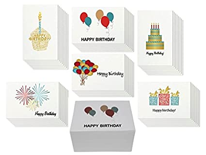 48 Happy Birthday Card Bulk Assortment Set 6 Fun Designs With Blank Inside 4
