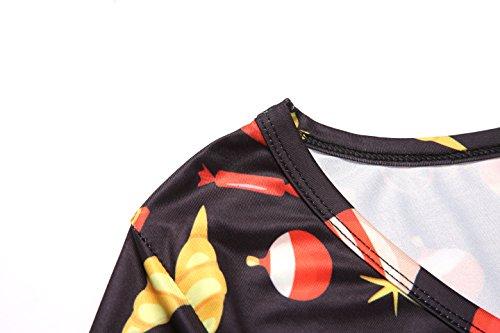 170fcb9dfb Aphratti Women s Long Sleeve Santa Christmas Print Flare Swing Dress Black  Medium