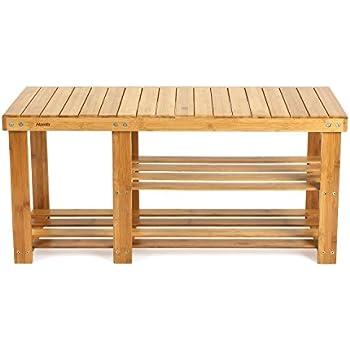 homfa natural bamboo shoe rack bench 2 tier boot organizing rack entryway storage shelf hallway furniture