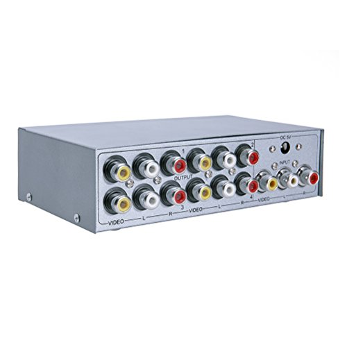 - DTECH Powered 4 Way 3 RCA Splitter Box Support 1 in 4 Out Audio Video Distribution Amplifier