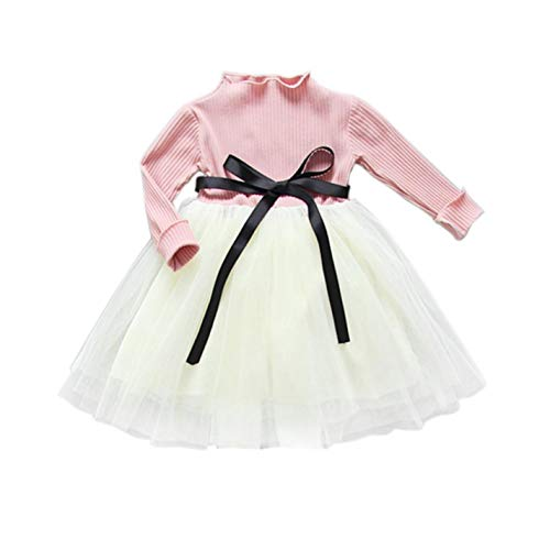 umUVAdAp Baby Girl Bow Crochet Knit Long Sleeve Party Pageant Tulle Tutu Dresses - Pink Bow Rose Eyelet Dress