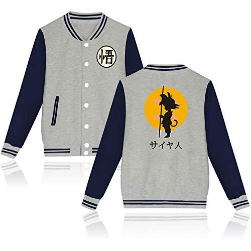 Dragon Ball z Men Jackets Goku Women Sweatshirt Baseball Hoodie Anime Cosplay Costume #48 (Gray, -