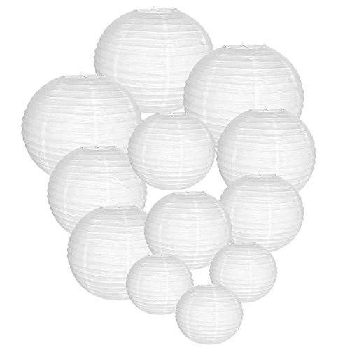 Just Artifacts Decorative Round Chinese Paper Lanterns 12pcs Assorted Sizes (Color: White) (Paper Cheap Lanterns Bulk)