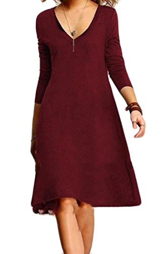 Casuale collo Maniche V Di Lunghe Abiti Coolred Rosso Profonde A Colore Vino donne Puro g0wn4P