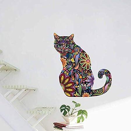 LBKKBL Arte Creativo Diseño Floral Gato Color Diy Pegatinas de ...
