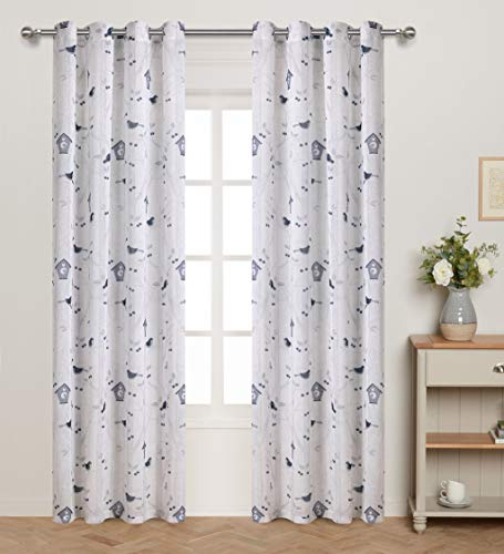 Butterfly Leaf Top - Nursery / Kid's Bedroom Floral Print Faux Linen Sheer Curtain with Artsy Butterfly Lovely Birds Small Leaves and Fruit Eyelets Top Window Drapes for Girls Bedroom 95 inch Long 2 Panels Blue Grey