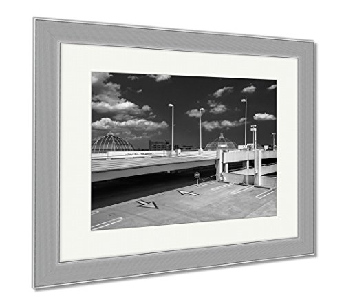 Ashley Framed Prints Parking Garage And Domes On The Roof Of Towson Town Center Mary, Wall Art Home Decoration, Black/White, 34x40 (frame size), Silver Frame, - Mall Towson Maryland