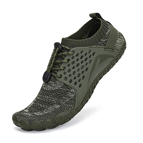 SAJOMCE Mens Womens Trail Running Shoes Outdoor Barefoot Shoes Walking Hiking Shoes Wide Toe Box, Green1, 9.5 Women/8 Men ()