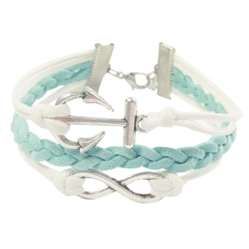 Wrapables Vintage Leather and Rope Infinity Bracelet - Mint and White Anchor Infinity (Shamballa Rope)