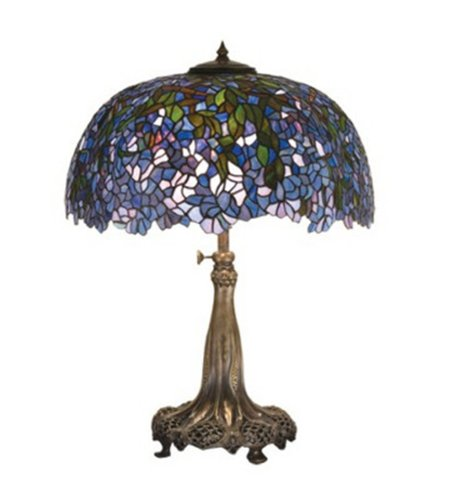 Meyda Tiffany 50009 Tiffany Laburnum Collection 3-Light Table Lamp, Antique Patina Finish with Plum and Blue Stained Glass Shade