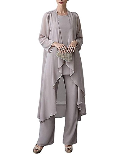 2018 Womens Chiffon Pant Suits Mother of The Bride 3 Pieces Long Jacket Sexy Split Side Evening Dresses Formal Party Costume YJ001 Gray Size 16 ()