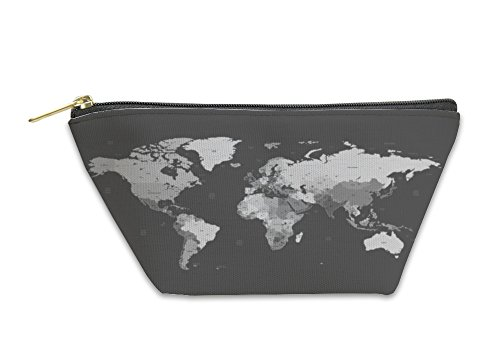 Gear New Accessory Zipper Pouch, Gray Detailed World Map, Large, 5810782GN by Gear New