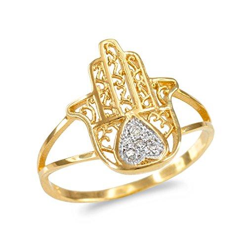 14k Yellow Gold Diamond Pave Heart Filigree Hamsa Ladies Ring (Size ()