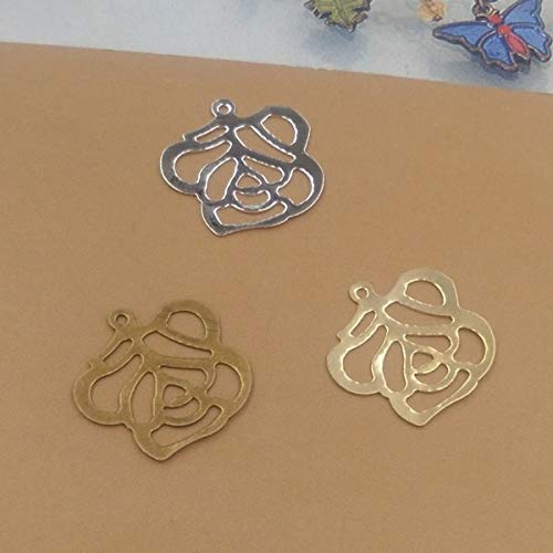 Calvas Newest 18mm Embossed Rose Filigree Charms/Pendant Copper with Antique Bronze/Silver Handmade,Parts Vintage Jewelry - (Item Diameter: Silver 50pcs)