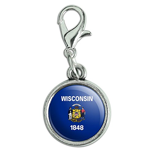 Antiqued Bracelet Pendant Zipper Pull Charm with Lobster Clasp State Flag - Wisconsin State Flag