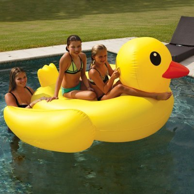 Giant 2 Person, 2 Sturdy Handles Pool Floats by Sun Pleasure - Yellow Duck