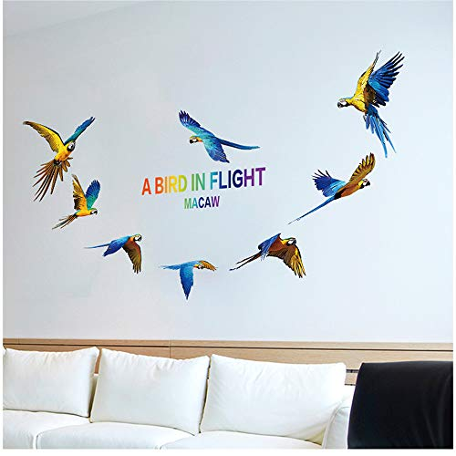 (Wociaosmd Wall Sticker,3D Macaw Stickers Decorative Creative Removable Wall Sticker for Nursery Decor)