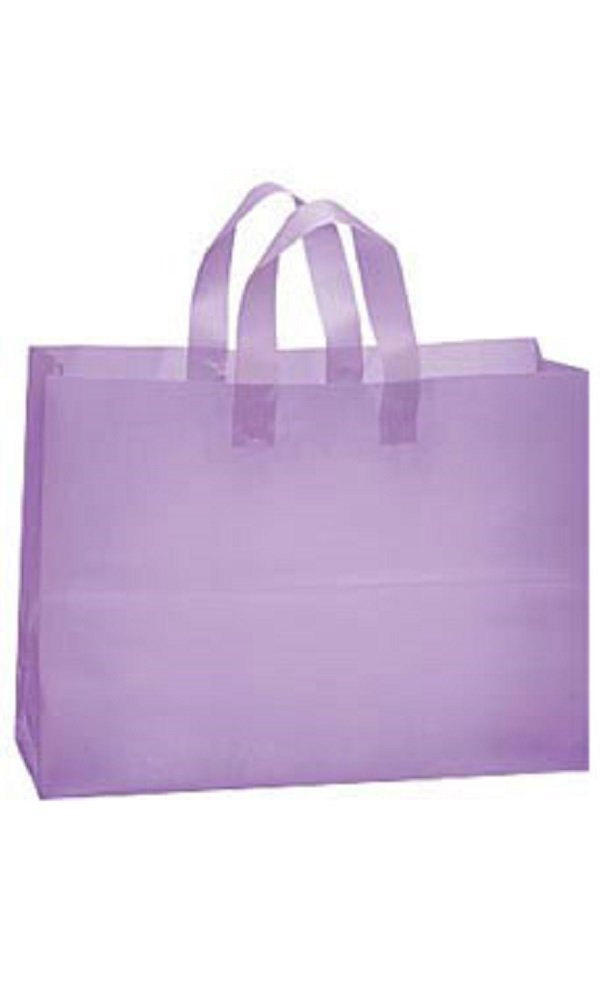 Large Lavender Frosted Plastic Shopping Bags - Case of 100