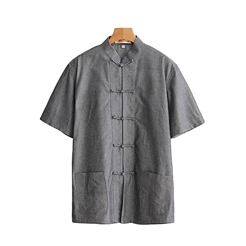 ZooBoo Men 's Tang Suit Summer Short - Sleeved Shirt Cotton Shirts (M, Gray)